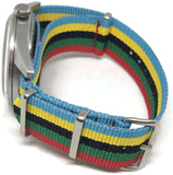 NATO G10 Watch Strap ZULU Stripe Red Green Black Yellow and Blue Sizes 18mm too 24mm