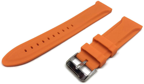 Orange Rubber Watch Strap Centre Ridge Stainless Steel Buckle Sizes 18mm to 22mm
