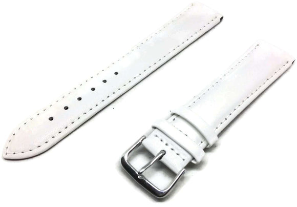 Calf Leather Watch Strap Extra Long White Padded Round Classic Look Sizes 8mm to 24mm
