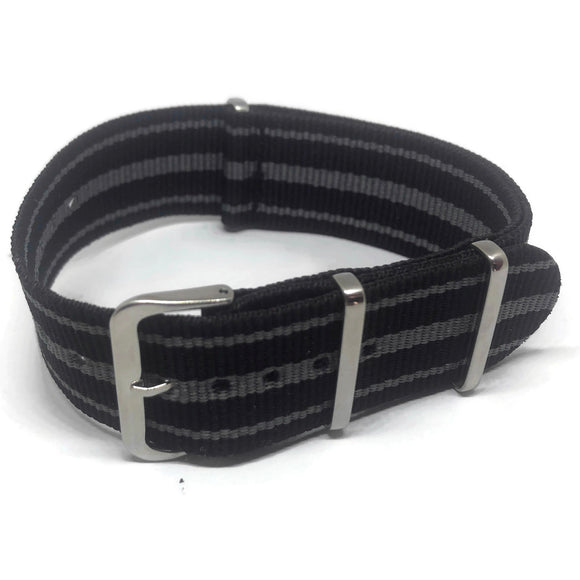 NATO Zulu G10 Style Watch Strap Nylon 3 Stripe Black and Grey with Stainless Steel Buckle