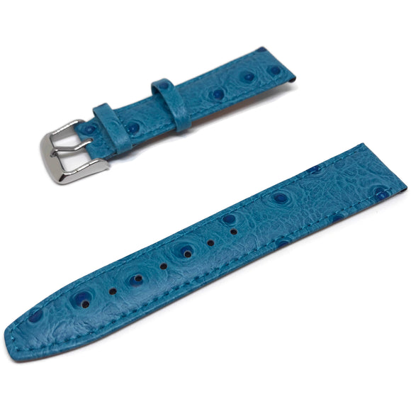 Ostrich Grain Watch Strap Light Blue Calf Leather Chrome Buckle Size 12mm to 20mm