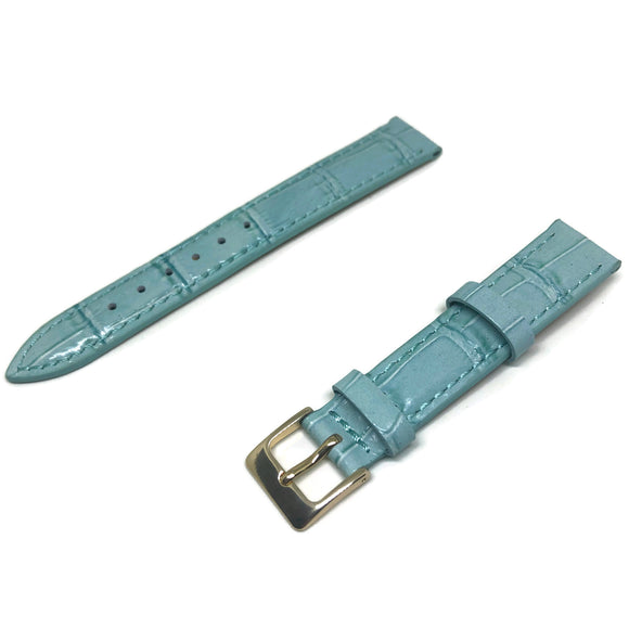 Crocodile Grain Watch Strap Blue Super Croc Grain with Nubuck Leather