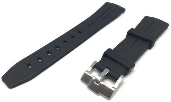 Black Rubber Watch Strap for Oyster Submariner Curved End with Black Line 20mm