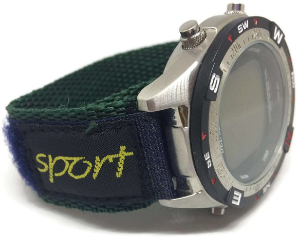 Velcro Watch Strap Green & Navy Nylon Sports 14mm and 20mm