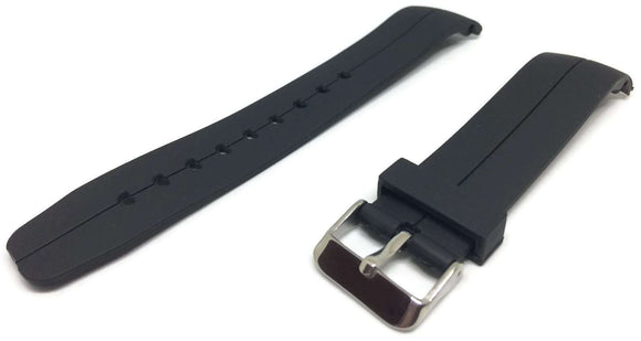 Black Rubber Watch Strap with Curved End and Stainless Steel Buckle 20mm and 22mnm