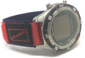 Velcro Watch Strap Red & Navy Nylon with Fabric Sports Badge 14mm and 20mm