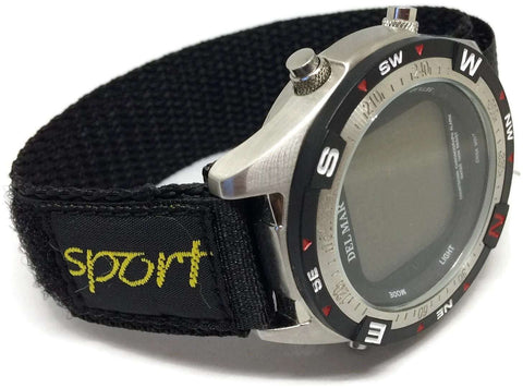 VELCRO WATCH STRAP BLACK NYLON WITH FABRIC SPORTS BADGE 14MM AND 20MM