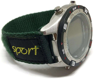 Velcro Watch Strap Green Nylon with Fabric Sports Badge 14mm and 20mm