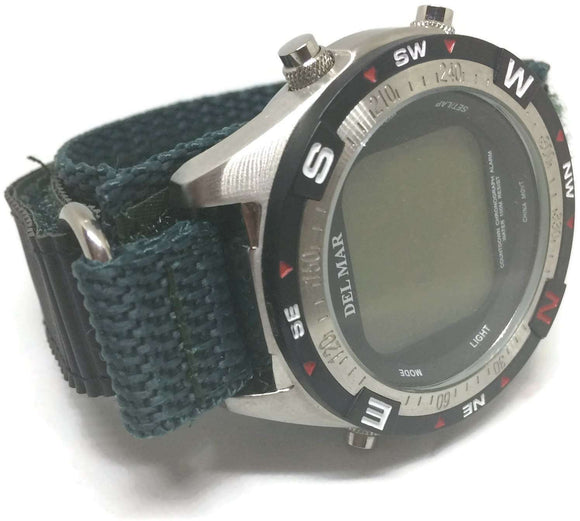 Velcro Watch Strap 20mm Bottle Green with Stainless Steel Ring