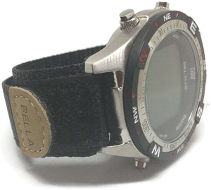 Velcro Watch Strap Black with Stainless Steel Ring 18mm
