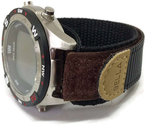 Velcro Watch Strap Brown with Stainless Steel Ring 18mm