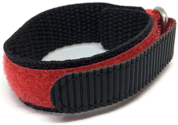 Velcro Watch Strap Red and Black with Stainless Steel Ring 14mm and 18mm