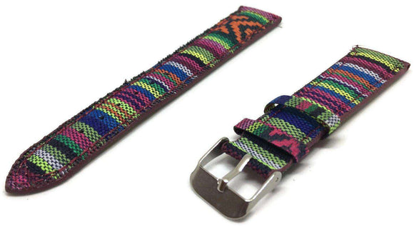 Fabric Watch Strap 18mm with Stylish Patten and Stainless Steel Buckle
