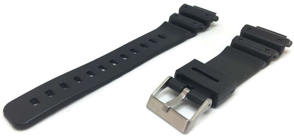Casio Generic Watch Strap Black 16mm (25mm) with Stainless Steel Buckle