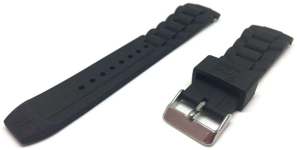 Authnetic Ice Watch Strap Black with Stainless Steel Buckle Sizes 17mm, 20, and 22mm