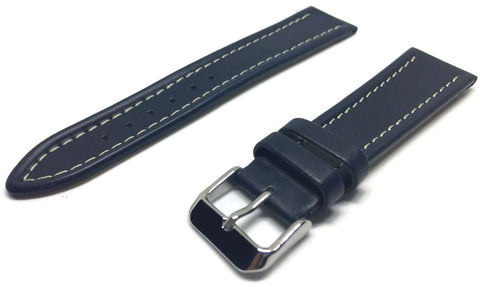 Calf Leather Luxury Watch Strap Royal Blue with White Stitching 12mm to 20mm