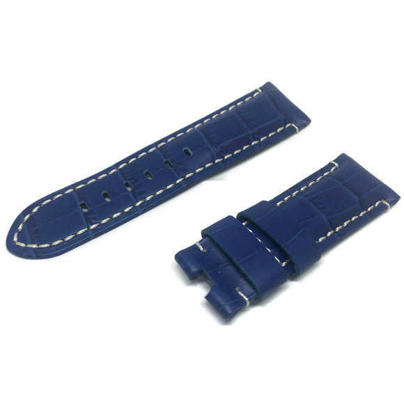 Crocodile Grain Calf Leather Watch Strap Blue Premium Strap for Panerai 22mm to 24mm