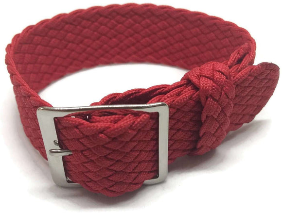 Perlon Watch Strap Red 20mm with Polished Stainless Steel Buckle