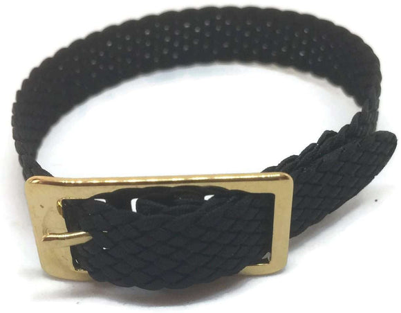 Nylon Watch Strap Plaited Black with Gold Plated Buckle Size 8mm to 20mm