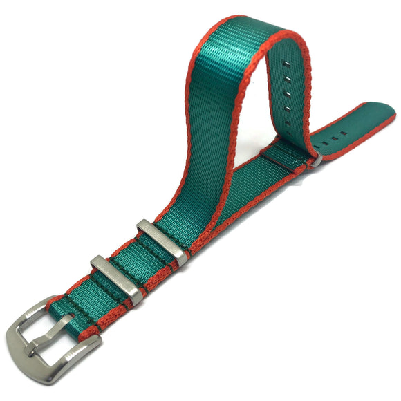 N.A.T.O Zulu G10 Style Watch Strap Green/Orange High Quality Seat Belt Fabric Stainless Steel Luxury Buckle