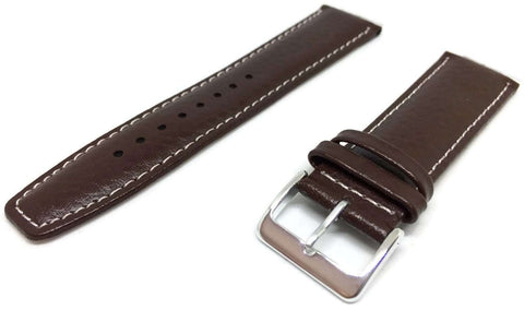 Buffalo Grain Watch Strap Dark Brown Padded with White Stitching Size 18mm to 22mm