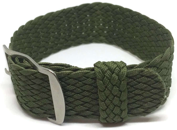 Perlon Watch Strap Green 20mm with Matt Stainless Steel Buckle