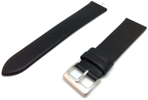 Calf Leather Watch Strap Black Stainless Steel Buckle Size 6mm to 30mm