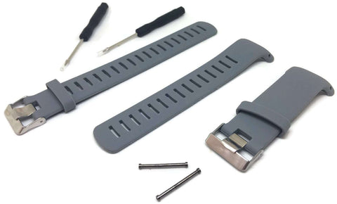 Grey Silicone Watch Strap for Suunto D4/D4I NOVO Dive Computer plus FREE extension strap