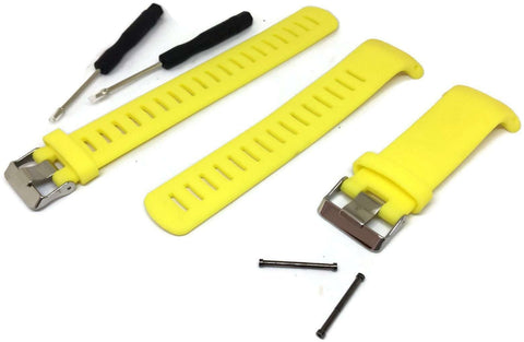 Yellow Silicone Watch Strap for Suunto D4/D4I NOVO Dive Computer plus FREE extension strap