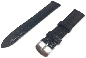 Genuine Crocodile Watch Strap Black Padded High Sheen with Stainless Steel Buckle Size 12mm to 20mm