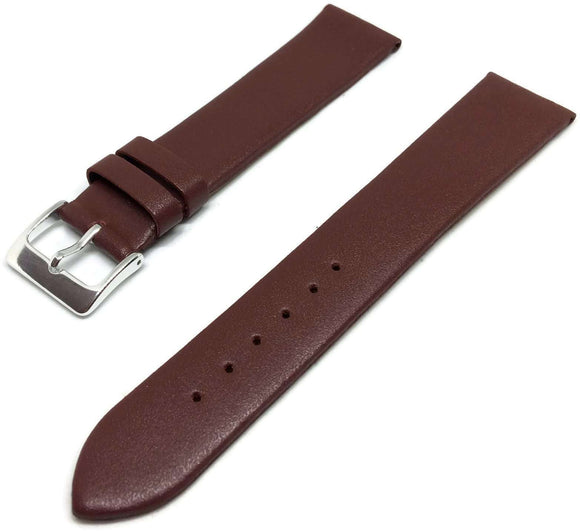 Calf Leather Watch Strap Burgundy with Chrpme Plated Buckle Size 12mm to 30mm