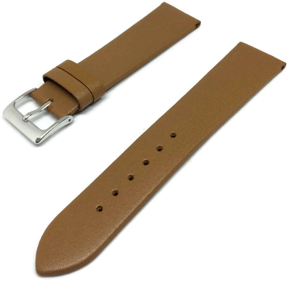 Calf Leather Watch Strap Tan with Stainless Steel Buckle Size 8mm to 30mm