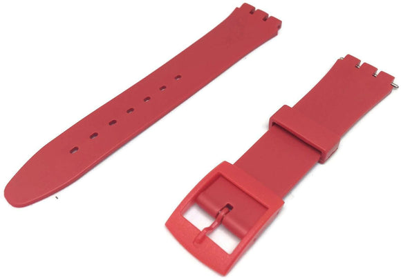Swatch Style Resin Watch Strap Red with Red Plastic Buckle 12mm and 17mm