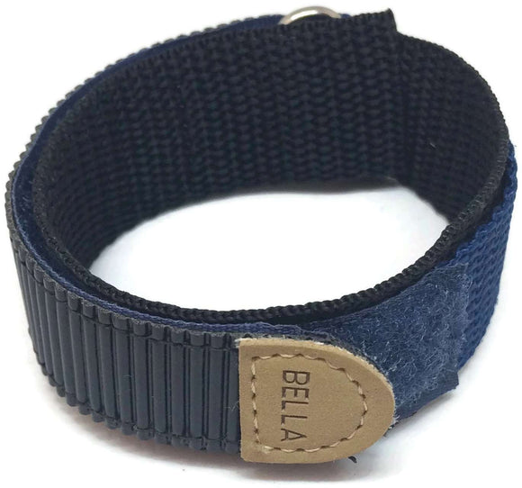 Velcro Watch Strap 18mm Navy Blue with Stainless Steel Ring