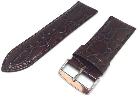 Crocodile Grain Watch Strap Brown Calf Leather Super Croc Size 8mm to 30mm