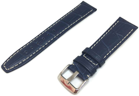Crocodile Grain Watch Strap Blue Super Croc Grain with Nubuck Lining Size 18mm to 24mm