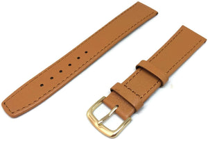 Pig Skin Watch Strap Extra Long with Gold Plated Buckle Size 8mm to 20mm