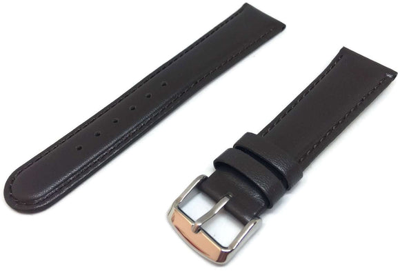 Calf Leather Watch Strap Dark Brown Padded Size 8mm to 26mm Chrome Buckle