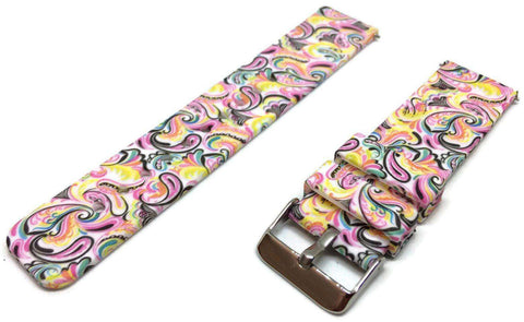 Silicone Rubber Watch Strap Bright Paisley Pattern 22mm with Quick Release Spring Bar