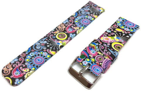 Silicone Rubber Watch Strap Bright Psychedelic Pattern 22mm with Quick Release Spring Bar