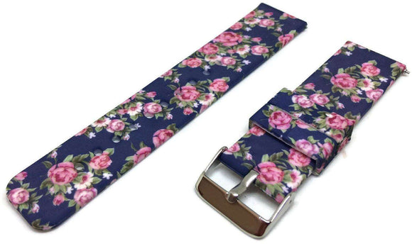 Silicone Rubber Watch Strap Bright Rose Pattern 22mm with Quick Release Spring Bar