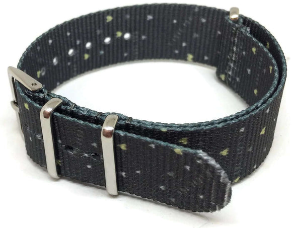 NATO Zulu G10 Style Watch Strap 20mm Blue Heart Pattern Stainless Steel Buckle