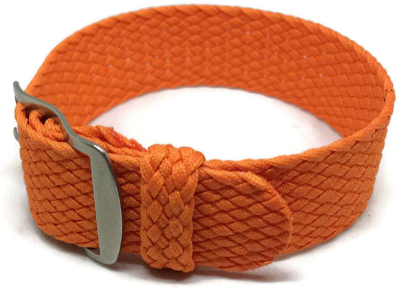 Perlon Watch Strap Orange 20mm with Matt Stainless Steel Buckle