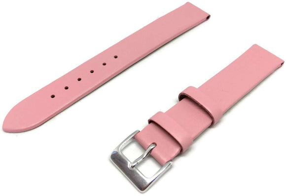 Calf Leather Watch Strap Pink Extra Long Chrome Buckle 12mm to 30mm