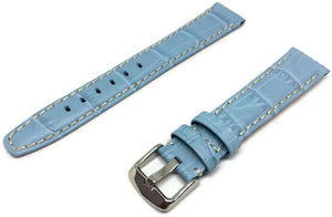 Crocodile Grain Watch Strap Light Blue Chrome Buckle Size 18mm to 24mm