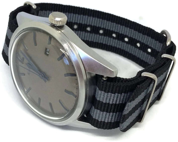 NATO Zulu G10 Style Watch Strap Black and Grey Nylon 2 Stripe Stainless Buckle