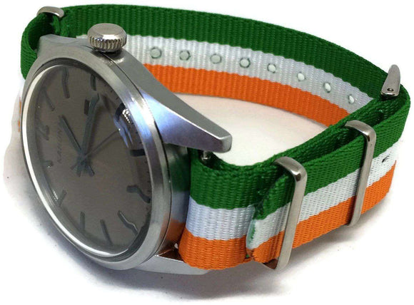 NATO Zulu G10 Watch Strap Orange White Green Ireland, India, Niger, Ivory Coast Flag
