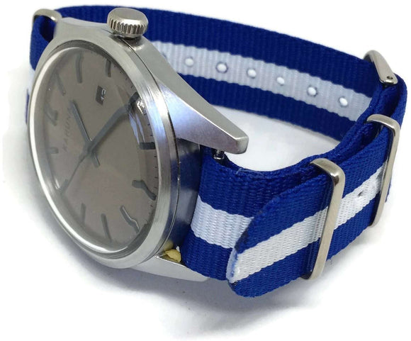 NATO Zulu G10 Watch Strap Blue and White Scotland, Israel, Greece, Flag Stainless Steel Buckle