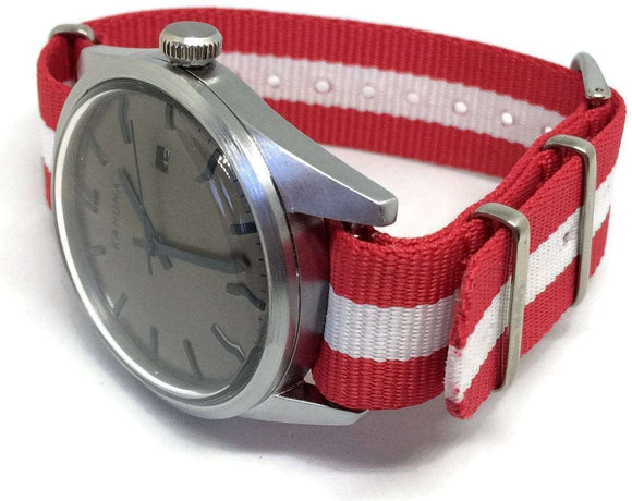 NATO Zulu G10  Watch Strap Red and White Switzerland, Denmark, Austria Flag Stainless Buckle