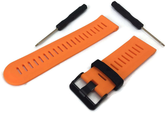 Garmin Fenix 3 Orange Silicone Watch Strap with Black Stainless Steel Buckle